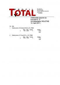 Mere i specifikacija roletni za izradu ponude, za roletnara